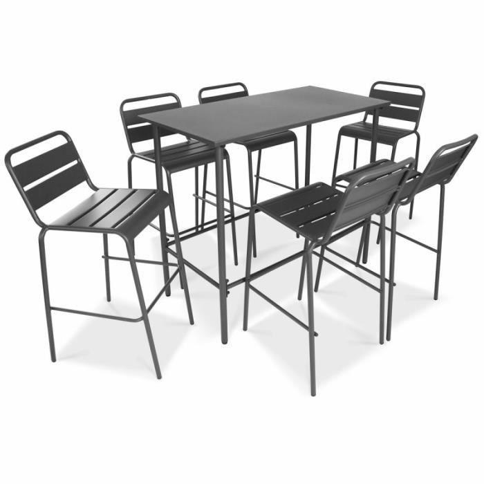 Table haute de jardin et 6 tabourets - Achat / Vente tabouret de bar ...