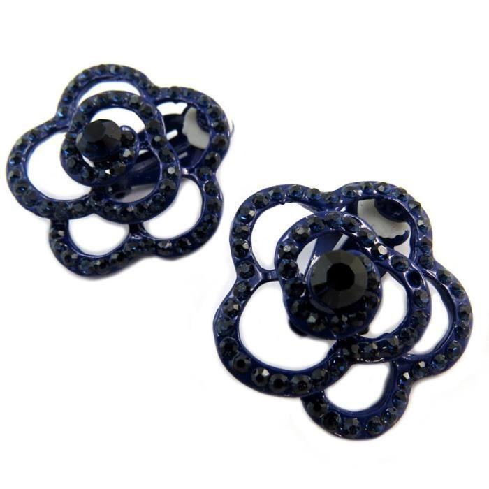 Clips Créateur Sissi bleu noir (fleur) - 30 mm [P4603]