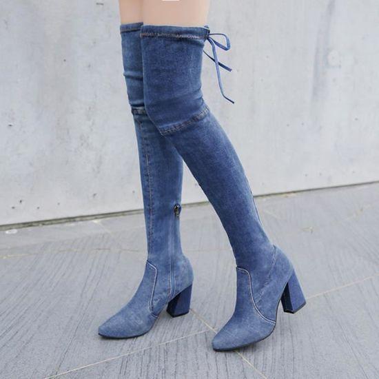 Talons Hauts Pachasky®chaussures Mode Pointu Femmes Bout Des bleu Clair Hautes De Sur Au Pour Genou Bottes 53ALq4Rjc