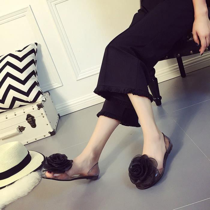Transparent Noir Poisson c 2460 Mode Bouche Chaussures Plage Plates Féminine Rose Antiderapant Noir C4ztzpqw