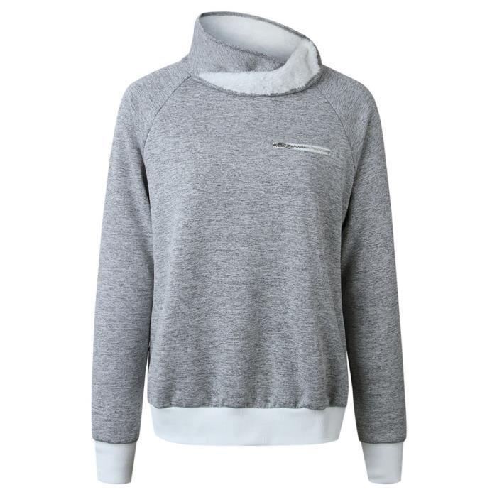 shirt Flanelle Sweat Tops Longues Zipper Gris Chemisier Manches Femmes D'hiver Les 0FOpq