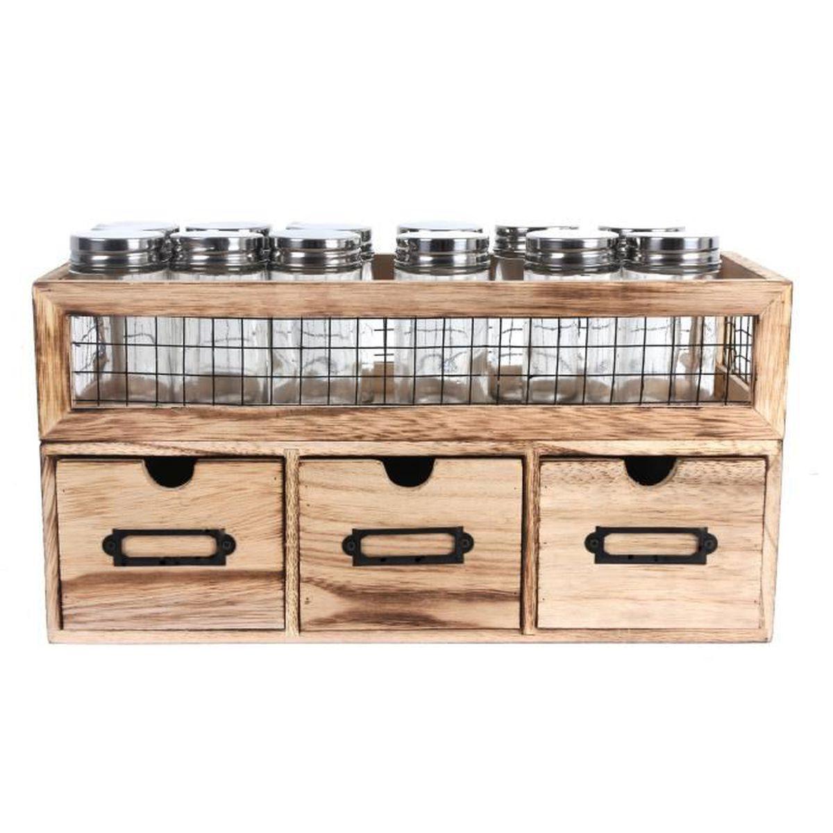 meuble 3 tiroirs 1 etag re de pots pices campagne. Black Bedroom Furniture Sets. Home Design Ideas
