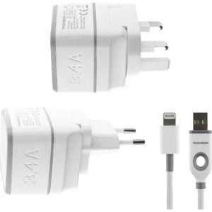 THOMSON Chargeur secteur de voyage avec câble USB / connectique Lightning - Blanc