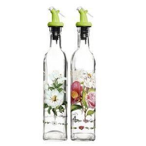 VINAIGRETTE 2PCS Verre Bouteille Fleur Huile Vinaigre Jar Bout