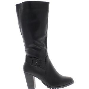 3bd710d2baa083 Bottes femme doublées grande taille noires à talon de 9 cm aspect ...