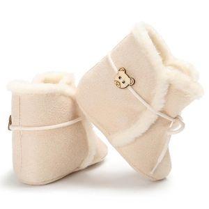 Blanc-Chaussures de bébé Hiver Fond mou Garde au chaud Bottes de neige Loisirs Confortable Chaussures de bébé KiIgpz