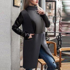Long Manteau La Chaud Cuir Patchwork En Hiver De Veste Femmes Zipper Yqzdx0w