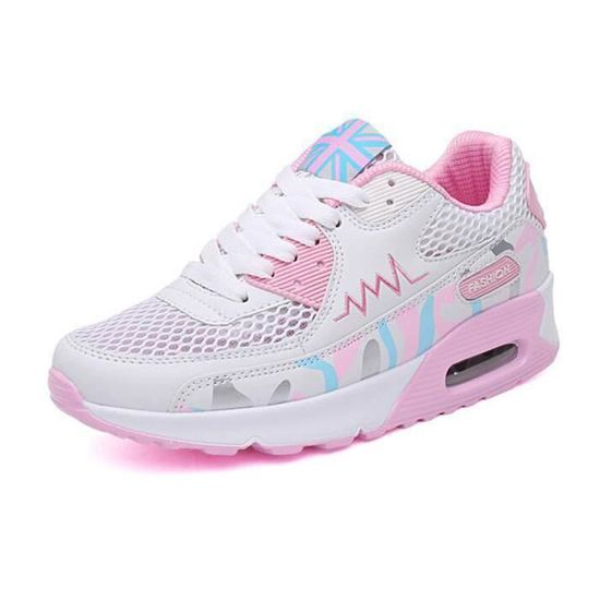 Chaussures Basket Femme sneakers de coussin d'air Mesh Tissu - Blanc Rose Rose Rose - Achat / Vente basket