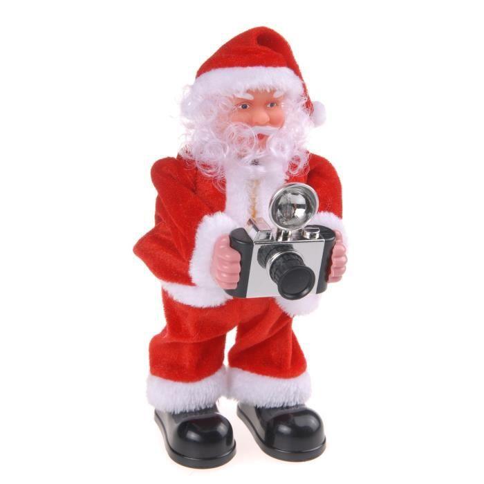 Personnage de Noël : Père Noël photographe - 25 cm - Rouge et blanc