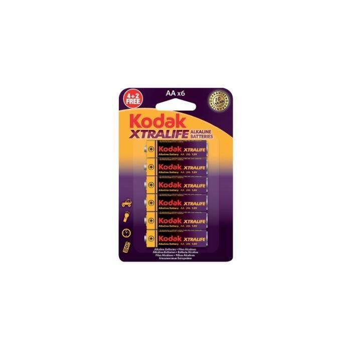 KODAK Piles alcaline XTRALIFE LR06/AA - 1,5V batterie (4+2)