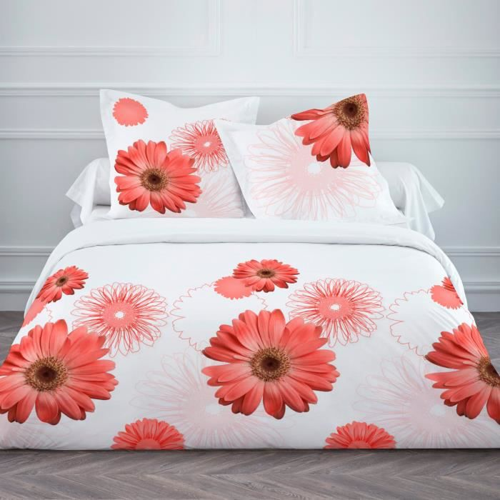 Housse Couette 220x240cm 100 Coton Gerbera Corail 2 Taies Achat