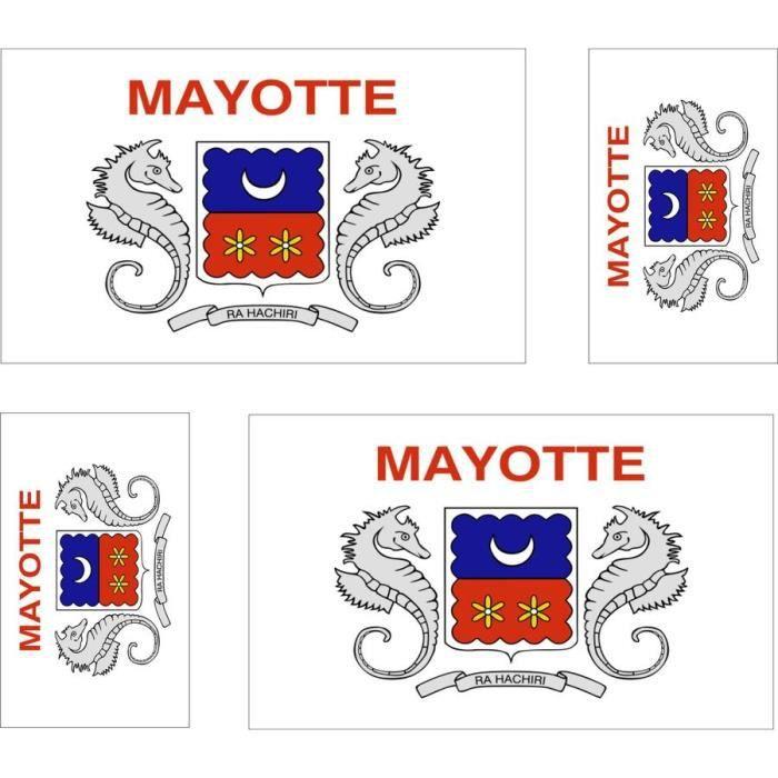 4 autocollant sticker voiture drapeau mayotte