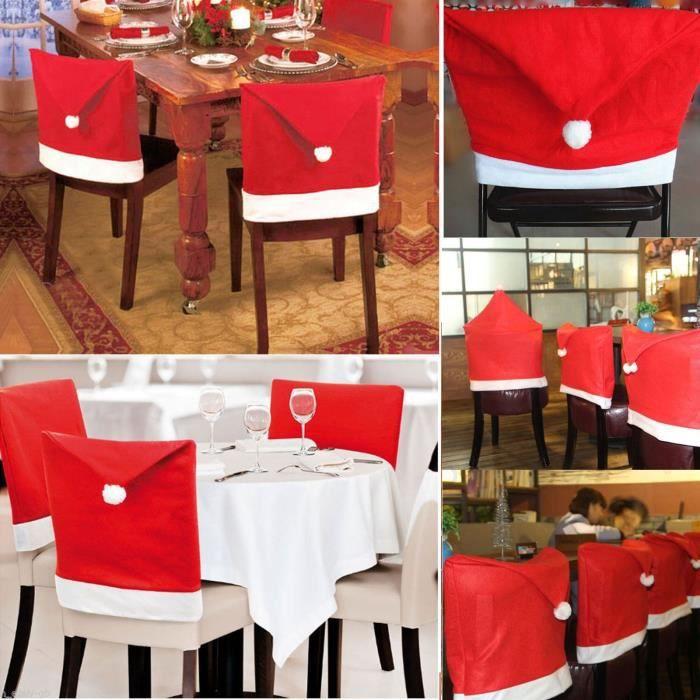 4pcs Housse Dossier Chaise Forme Chapeau Pere Noel Decoration De