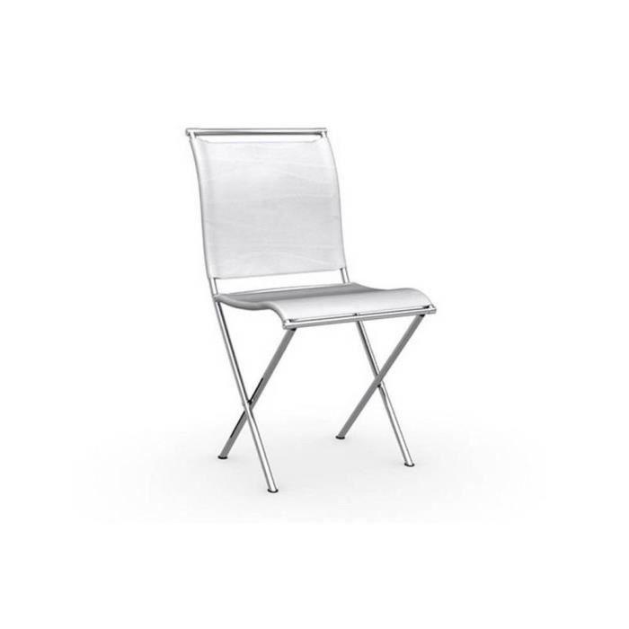 Chaise Pliante Design AIR FOLDING Structure Acier Chrome Assise Tissu Blanc Optique
