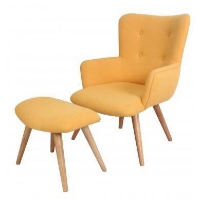 fauteuil avec repose pieds stockholm achat vente fauteuil jaune cdiscount. Black Bedroom Furniture Sets. Home Design Ideas