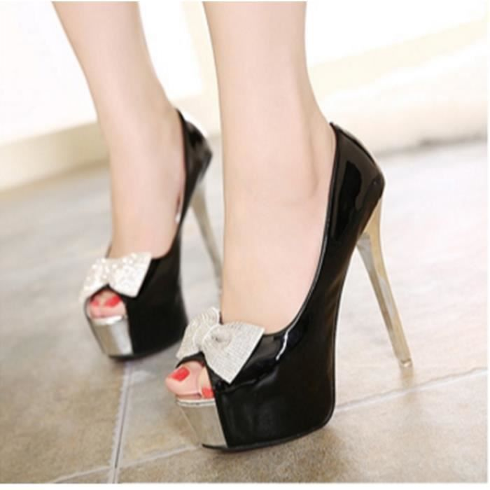 Princesse Bow bouche de poisson chaussures à talons hauts-Noir