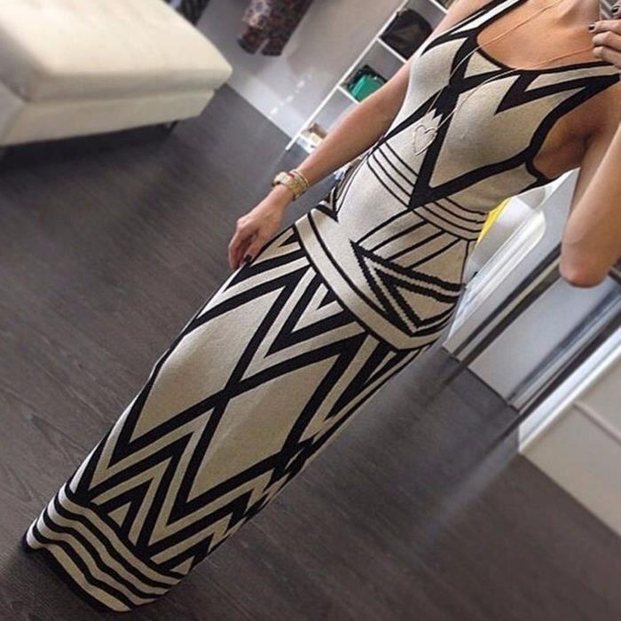 Robes Femmes imprimé géométrique Summer Long Maxi Dress 2016 Fashion Casual Summer manches bodycon Party Slim