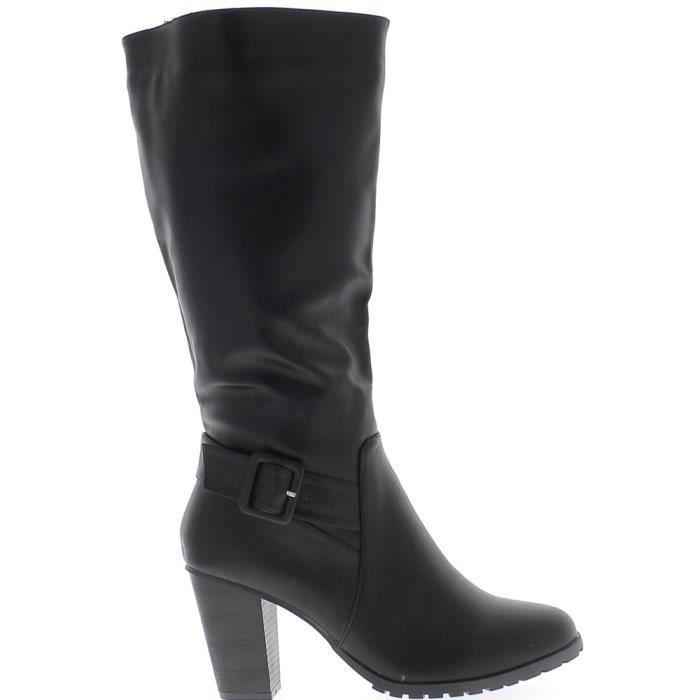 Bottes femme doublées grande taille noires à talon de 9 cm aspect cuir avec bride