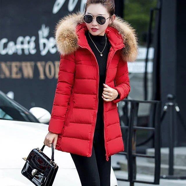Fourrure rouge Col Noir Manteau gris Soli D'hiver Femme xFnWw8WSqO