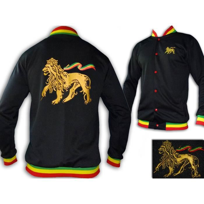Veste Rasta Conquering Lion of Judah Jah Star Wear Noir - Achat ... 054e0af5f40e