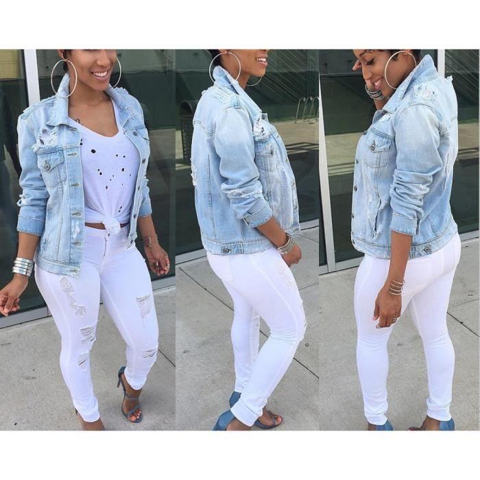 M-5XL Veste femme courte en denim jacket jeans effet déchiré manche longue  avec boutons grande taille printemps-automne bleu pâle a96bf5d97983