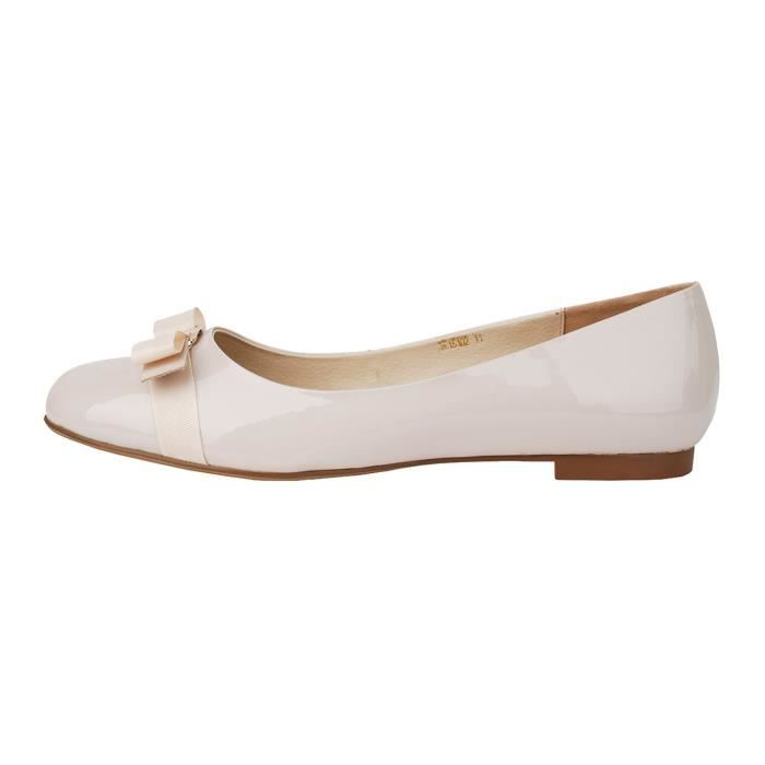 Flat Heel Round Toe With Bow-tie Genuine Leather Casual Balleria Pump For Bride Party H42UG Taille-37 1-2 qIdGQ0