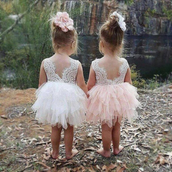 Robe haute couture Nina , 9 mois à 8 ans - Blanche - 9/12 mois