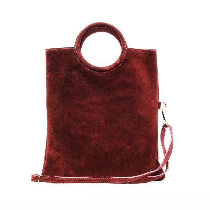 045200992d OH MY BAG Sac à main femme en cuir nubuck -daim porté main rouge ...