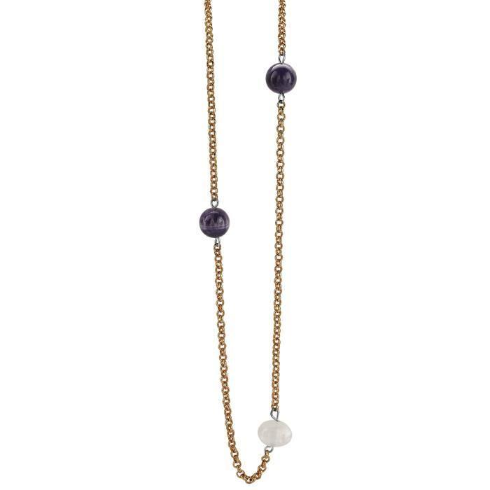 Orphelia collier en argent partiellement plaqué or quartz rond améthyste violet? 1Z8P0R