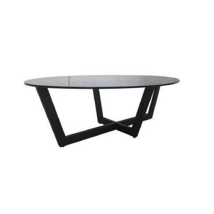 zircon table basse 130cm - plateau en verre trempé - noir - achat