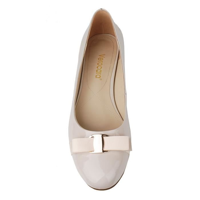 Flat Heel Round Toe With Bow-tie Genuine Leather Casual Balleria Pump For Bride Party H42UG Taille-37 1-2