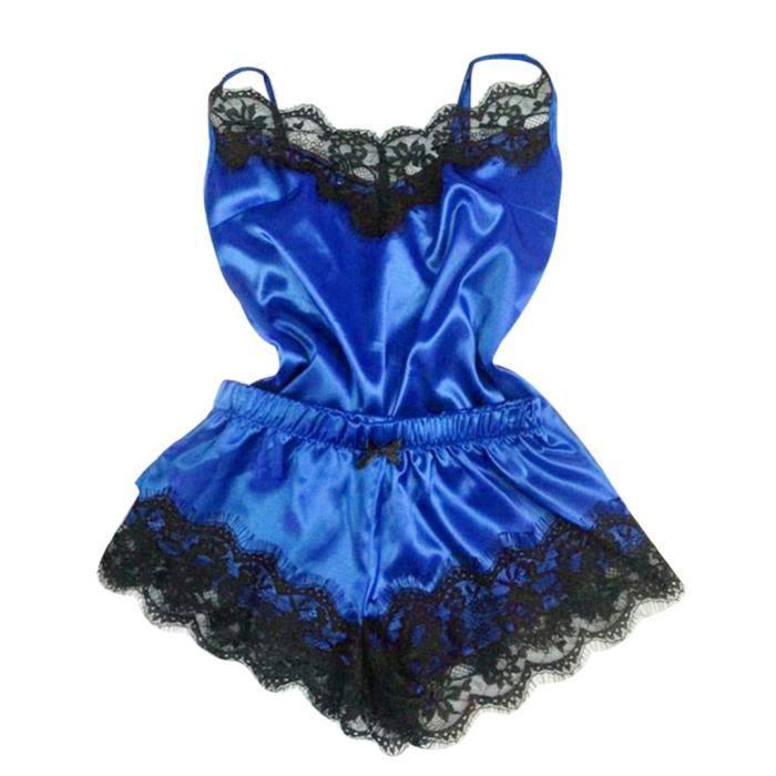Sous vêtements 2pc Femmes Nuit De Pyjamas Babydoll Lingerie Set Chemise Bleu Anonywego 8AHTzZqwH