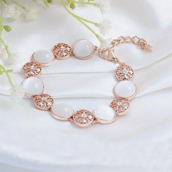Glamorousky bracelet tempérament lys blanc élément cristal autrichien chats de mode de sable oeil (23786)