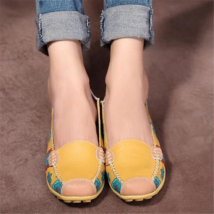 Mocassins Femmes Printemps ete Cuir Chaussures BGD-XZ056Jaune35