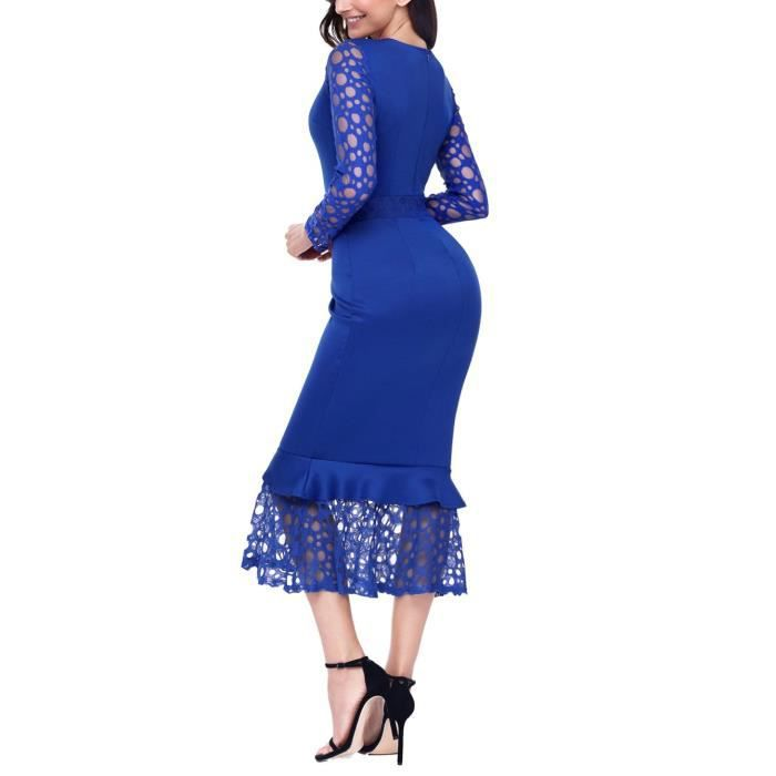 Womens Hollow-out Long Sleeve Lace Ruffle O-neck Bodycon Party Cocktail Prom Midi Dress 2UDZF6 Taille-32