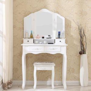 COIFFEUSE Coiffeuse blanche avec 3 miroirs et tabouret pour