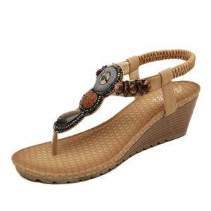 51deb3e8238ac7 SANDALE - NU-PIEDS Sandales à Talons Compensés Chaussures Femme