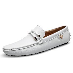 Blanc Cuir Homme Chaussures Souple Mocassins Ville Basses De shrtdQ