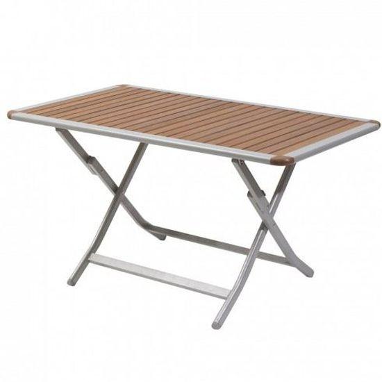 Table bois aluminium pliable 140x80cm - Achat / Vente table de ...