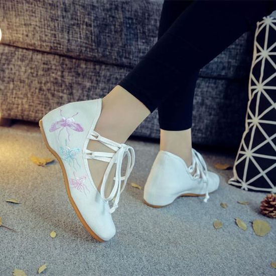 Mode Femmes Chaussures Brodées Sexy Confortable Double-Dentelle Mary Jane Beijing Chaussures Chaussures Plates Blanc Blanc Blanc - Achat / Vente chaussure toning