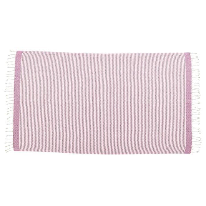 DONE Plaid LOUNGE STRIPES - Composition : 100% Coton - Coloris : ROSE - Dimensions : 100x180cmCOUVERTURE - EDREDON - PLAID