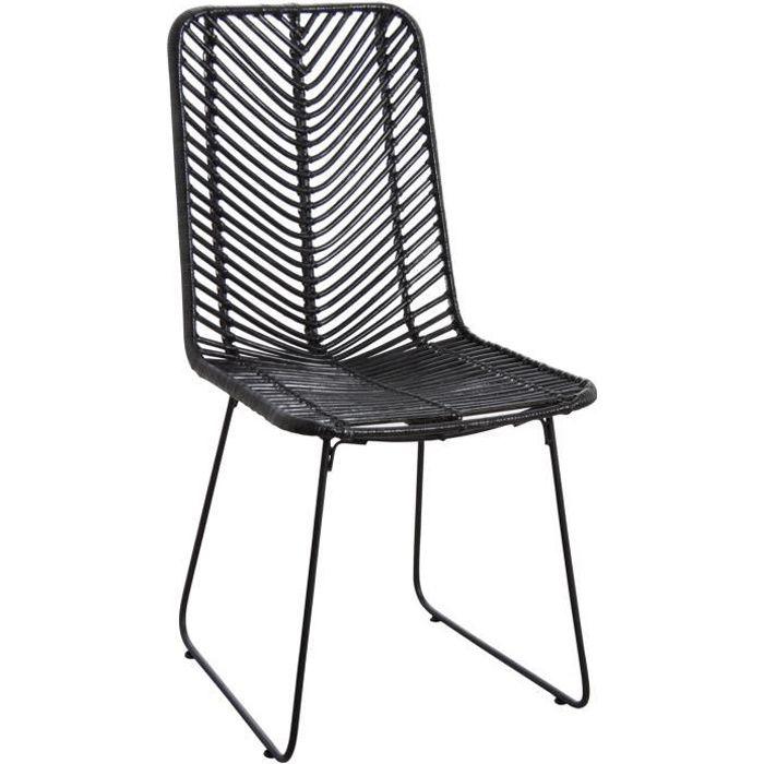 chaise en rotin noir et m tal noir achat vente chaise. Black Bedroom Furniture Sets. Home Design Ideas