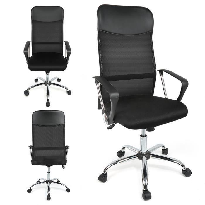 nouvelle arrivee 36384 36efa Fauteuil de bureau Chaise pour ordinateur en simili ergonomique - Noir