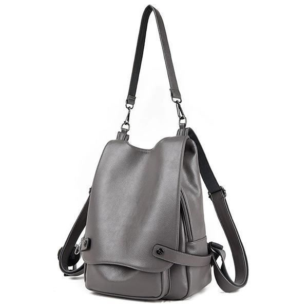 SBBKO2901Ekphero Multifunction PU Leather Femmes Handbags Vintage Sacs bandoulière Travel Backpack Gris