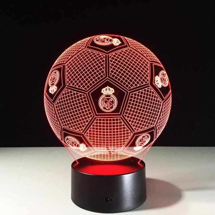 Football Maison Lumière Lampe Real Soccer Nuit Coloré Madrid Cadeau 3d Bureau 3ARjL54q