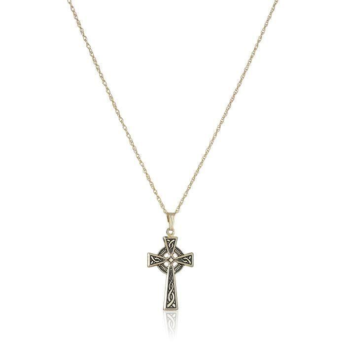 Jewel Panda 14K Gold-Filled Collier Pendant Finish Croix celtique Antique, 18