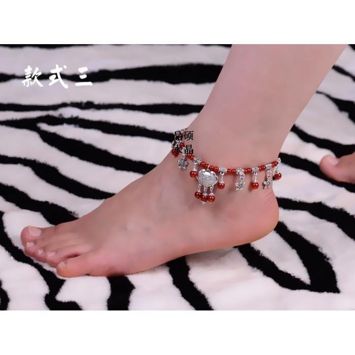 Natal bijoux en cristal naturel agate rouge cheville dargent tibétain longévité modèles serrure de femmes