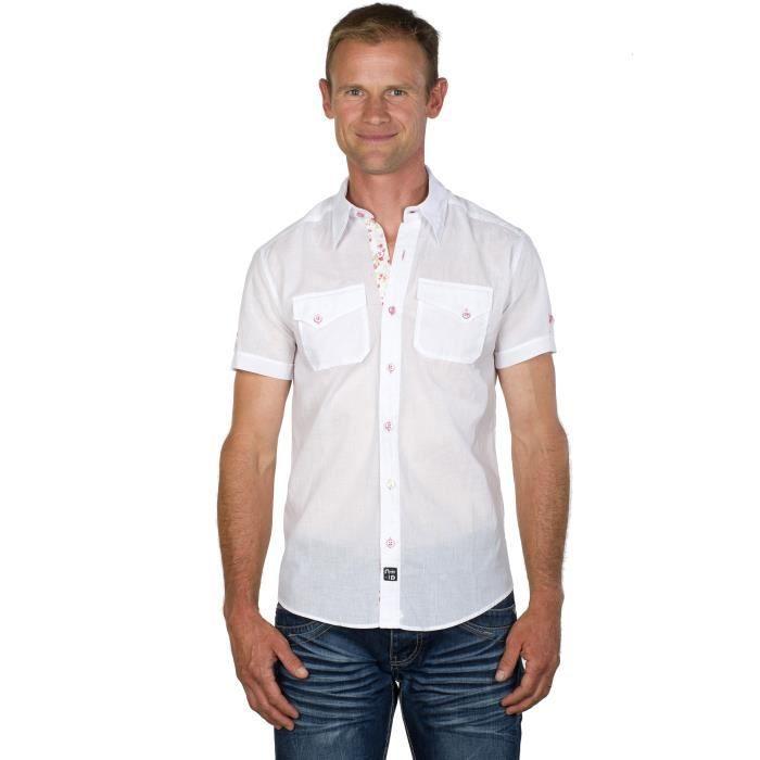 livraison gratuite a26f8 f30c7 UGHOLIN Chemise Homme Unie Coton Blanche Liberty Slim Fit ...