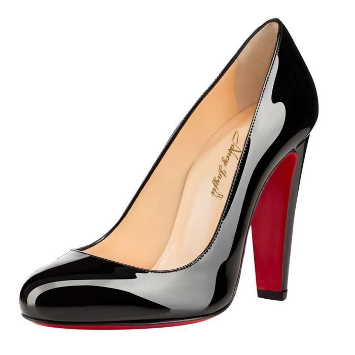 Chaussures femmes cuir véritable, escarpins noirs à talon large Nancy Jayjii.
