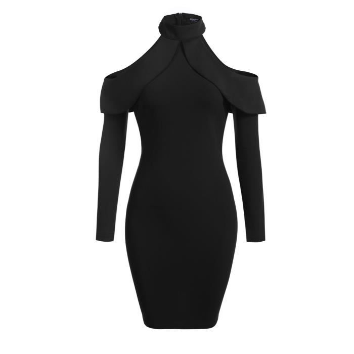 Robe Bodycon Manches Longues froid épaule Ruffles